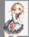 1girl absurdres apron bangs blonde_hair blue_eyes blush braid commentary dress eyebrows_visible_through_hair eyewear_removed flying_heart g36_(girls_frontline) girls_frontline gloves hair_between_eyes hansal highres lifted_by_self looking_at_viewer maid maid_apron maid_headdress round_eyewear short_hair side_braid sidelocks skirt_hold smile solo white_gloves younger