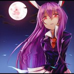 1girl animal_ears bunny_ears full_moon glowing glowing_eyes lavender_hair long_hair looking_at_viewer moon night night_sky red_eyes reisen_udongein_inaba skirt sky solo star star_(sky) starry_sky touhou very_long_hair yamato_(muchuu_paradigm)