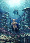 1girl blonde_hair bubble diving fish highres original page propeller scenery solo sun twintails underwater water