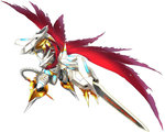 armor claws digimoji digimon digimon_story:_cyber_sleuth gauntlets gold horns jesmon monster no_humans official_art red_cape shoulder_pads simple_background solo sword tail torn_cape translated weapon writing yasuda_suzuhito yellow_eyes