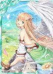 1girl :d akkijin angel angel_wings back bare_shoulders blonde_hair blue_sky breasts card_(medium) dress feathers field flower green_eyes hair_flower hair_ornament looking_at_viewer mountain official_art open_mouth shinkai_no_valkyrie sitting sky small_breasts smile solo sunlight tree white_dress wings