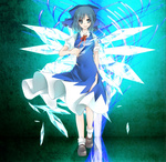 1girl bad_id bad_pixiv_id blue_dress blue_eyes blue_hair cirno dress fairy ice miyu_(lacrima) ribbon short_hair smile solo torn_clothes torn_dress touhou walking wings