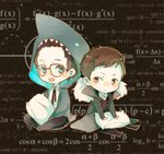 2boys blue_eyes brown_eyes brown_hair calculus chibi glasses herman_gottlieb lingcat math multiple_boys newton_geiszler pacific_rim pillow shark_costume