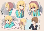 !? 2girls :d :o ? absurdres amaryllis_class arm_support bangs black_shirt blonde_hair blue_eyes blue_hoodie blush brown_eyes brown_hair brown_hoodie character_request collarbone crossed_arms drawstring empty_eyes eye_contact eyebrows_visible_through_hair fang hair_between_eyes highres hood hood_down hoodie kotohara_hinari long_hair long_sleeves looking_at_another low_twintails lying multiple_girls on_stomach open_mouth pillow profile shirt sleeves_past_wrists smile tama_(tama-s) translation_request twintails under_covers virtual_youtuber