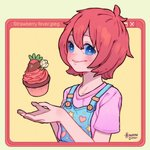 1girl artist_name bangs blue_eyes blush cake cupcake english_text flower food fruit hanaan hands_up heart icing looking_at_viewer original overalls pink_shirt red_hair shirt short_hair short_sleeves smile solo star strawberry upper_body white_flower window_(computing) yellow_background