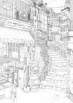 air_conditioner bad_id bad_pixiv_id ball bouno_satoshi fan fox_mask greyscale highres japanese_cylindrical_postbox japanese_postal_mark mask monochrome no_humans old_kana_usage original postbox_(outgoing_mail) railing scenery sign sky stairs town work_in_progress
