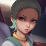 1girl aqua_hair closed_mouth collar eureka eureka_seven eureka_seven_(series) eyelashes forehead freckles hair_ornament hairclip highres lips looking_at_viewer miura-n315 no_bangs nose portrait purple_eyes short_hair solo