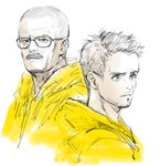2boys bald blue_eyes bomssp breaking_bad facial_hair glasses heisenberg jacket jesse_pinkman male_focus multiple_boys mustache partially_colored stubble walter_white yellow_jacket