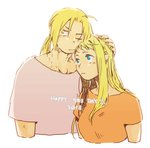 1boy 1girl 2018 antenna_hair blonde_hair blue_eyes couple dated earrings edward_elric expressionless fingernails fullmetal_alchemist hand_on_another's_head hetero igi_(tarqu0ise) jewelry long_hair looking_at_another looking_away one_eye_closed orange_shirt ponytail shirt simple_background upper_body white_background white_shirt winry_rockbell yellow_eyes