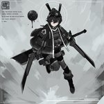 1girl black_footwear black_gloves black_hair black_jacket blue_eyes buckle closed_mouth concept_art dripping dual_wielding floating gloves hair_between_eyes headgear highres holding holding_sword holding_weapon jacket jiang1274 original scabbard sheath short_hair signature solo sword turtleneck twitter_username weapon