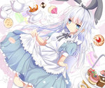 1girl alternate_costume animal_ears apron aruka_(alka_p1) blue_eyes bunny_ears cake commentary_request eyebrows_visible_through_hair fake_animal_ears food fruit hair_between_eyes hibiki_(kantai_collection) kantai_collection long_hair maid maid_apron open_mouth puffy_short_sleeves puffy_sleeves short_sleeves silver_hair snack solo strawberry verniy_(kantai_collection) white_apron