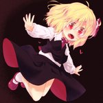 1girl bare_legs black_background black_skirt black_vest blonde_hair commentary_request dress_shirt floating hair_ribbon long_sleeves mary_janes necktie outstretched_arms razy_(skuroko) red_eyes red_footwear red_neckwear red_ribbon ribbon rumia sharp_teeth shirt shoes short_hair skirt socks teeth touhou vest white_shirt wing_collar