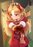1girl absurdres bangs blonde_hair blush bow chocolate coat embarrassed ereshkigal_(fate/grand_order) eyebrows eyebrows_visible_through_hair fate/grand_order fate_(series) hair_bow highres indoors long_hair long_sleeves open_mouth outstretched_arms parted_bangs red_bow red_coat red_eyes scarf signature skirt solo speech_bubble sunlight tiara user_saxg4433 valentine window