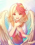 1girl absurdres bird blonde_hair blush brown_dress chick dress feathered_wings hand_on_own_chest highres looking_at_viewer multicolored_hair niwatari_kutaka open_mouth puffy_short_sleeves puffy_sleeves red_eyes red_hair red_neckwear short_hair short_sleeves simple_background smile solo standing sunlight touhou two-tone_hair upper_body wings yu_cha