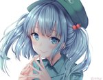 1girl artist_name bangs blue_eyes blue_hair blue_shirt blush cabbie_hat commentary_request eyebrows_visible_through_hair green_hat hair_bobbles hair_ornament hands_up hat kawashiro_nitori long_hair looking_at_viewer shiromoru_(yozakura_rety) shirt simple_background smile solo steepled_fingers touhou twitter_username two_side_up white_background wing_collar