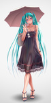 1girl alternate_color ankle_strap aqua_eyes aqua_hair bag bare_shoulders black_dress collarbone crossed_legs dress feet full_body grin hatsune_miku head_tilt high_heels jewelry long_hair looking_at_viewer nail_polish necklace open_toe_shoes sandals see-through shoes simple_background skirt_hold smile solo standing strappy_heels toenail_polish toes twintails umbrella very_long_hair vocaloid watson_cross white_background wokada