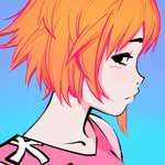 1girl black_eyes blue_background blush character_request close-up closed_mouth face food gorillaz gradient gradient_background highres ilya_kuvshinov looking_at_viewer noodle_(gorillaz) orange_hair profile short_hair solo tank_top