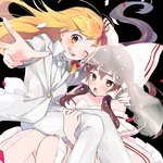2girls :d :o adapted_costume bare_shoulders black_background blonde_hair blush bow bridal_veil brown_eyes brown_hair carrying collared_shirt commentary confetti dress feet_out_of_frame hair_bow hair_tubes hakurei_reimu hug jacket jewelry kirisame_marisa long_hair long_sleeves multiple_girls necktie open_mouth pants princess_carry ring round_teeth shirt simple_background smile teeth touhou vanilla_(miotanntann) veil w wedding_band wedding_dress white_bow white_jacket white_neckwear white_pants wife_and_wife wing_collar yellow_eyes yuri