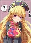 1girl ? black_sleeves blonde_hair blush breasts commentary eyebrows_visible_through_hair fusu_(a95101221) hair_between_eyes hat highres junko_(touhou) long_hair long_sleeves red_eyes smile solo speech_bubble spoken_question_mark tabard touhou translation_request very_long_hair