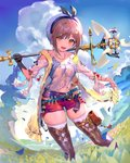 1girl atelier_(series) atelier_ryza belt beret blue_belt boots breasts brown_eyes brown_hair cleavage cloud cloudy_sky commentary_request day drawstring field gloves grass hair_ornament hairclip hat highres holding holding_staff jewelry looking_at_viewer medium_breasts necklace ogimotozukin open_clothes open_mouth red_shorts reisalin_stout round-bottom_flask shirt short_shorts shorts skindentation sky smile solo staff standing star star_necklace thigh_boots thigh_pouch thighhighs thighhighs_under_boots thighs vial white_legwear zettai_ryouiki