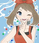 1girl artist_name bangs bare_shoulders blue_background blue_eyes blush breasts brown_hair collarbone happy haruka_(pokemon) highres looking_at_viewer miu_(miuuu_721) one_eye_closed open_mouth outline pokemon pokemon_(game) pokemon_oras red_shirt shirt signature sleeveless sleeveless_shirt small_breasts smile solo teeth upper_body white_outline