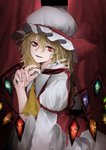 1girl absurdres ambiguous_red_liquid ascot bangs blonde_hair collared_shirt cowboy_shot crystal cup curtains drinking_glass dripping eyebrows_visible_through_hair fangs flandre_scarlet glowing hair_between_eyes hand_up hat hat_ribbon highres hisha_(kan_moko) holding holding_cup juliet_sleeves long_sleeves looking_at_viewer messy_hair mob_cap parted_lips puffy_sleeves rainbow_order red_curtains red_eyes red_vest ribbon shirt short_hair slit_pupils smile solo spinning touhou vampire vest white_shirt wine_glass wings yellow_neckwear