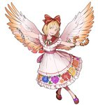 1girl angel_wings blonde_hair bow bracelet brown_footwear chain commentary dress floral_print flower frills full_body gengetsu hair_bow hair_ribbon highres jewelry laurels looking_at_viewer mefomefo open_mouth petals pink_bow red_bow ribbon short_hair short_sleeves simple_background smile solo touhou touhou_(pc-98) vest white_background white_dress wings yellow_eyes