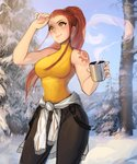 1girl absurdres bare_shoulders blue_sky breasts brigitte_(overwatch) brown_hair commentary cup day highres long_hair looking_away matilda_vin medium_breasts outdoors overwatch pants ponytail shirt sky smile snow solo steam sweat tattoo tied_shirt tree winter yellow_eyes