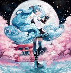 1girl :d black_legwear black_skirt black_sleeves blue_eyes blue_hair character_name cherry_blossoms cherry_tree cloud_hair copyright_name detached_sleeves floating_hair from_behind full_body full_moon hair_between_eyes hatsune_miku highres long_hair long_sleeves looking_at_viewer looking_back makoto_(roketto-massyumaro) miniskirt moon open_mouth outdoors pleated_skirt shirt skirt sleeveless sleeveless_shirt smile solo thighhighs torii very_long_hair vocaloid white_shirt zettai_ryouiki