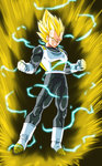 1boy armor aura blonde_hair boots clenched_hands clenched_teeth dragon_ball dragon_ball_super electricity full_body gloves green_eyes highres kamishima_kanon male_focus muscle solo spiked_hair super_saiyan super_saiyan_2 teeth vegeta white_boots white_gloves widow's_peak