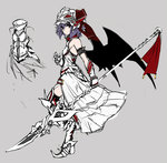 1girl alternate_costume armband armor armored_dress bare_shoulders bat_wings elbow_gloves gloves helmet looking_at_viewer metal_boots metal_gloves purple_hair red_eyes remilia_scarlet solo spear_the_gungnir takemori_shintarou touhou wings