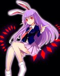 1girl animal_ears black_background blazer bunny_ears collared_shirt danmaku finger_gun full_body glowing glowing_eyes lavender_hair long_hair looking_to_the_side necktie open_mouth outline pleated_skirt red_eyes reisen_udongein_inaba shirt sketch skirt socks solo touhou yada_(xxxadaman)