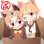 2girls animal_ears blush box brown_eyes brown_hair chinese_zodiac collared_shirt commentary_request dog_(kemono_friends) dog_ears extra_ears eyebrows_visible_through_hair highres in_box in_container japari_symbol japari_symbol_print kemono_friends looking_at_viewer makuran multicolored_hair multiple_girls necktie new_guinea_highland_wild_dog_(kemono_friends) on_box one_eye_closed paw_print shirt short_hair short_sleeves white_hair year_of_the_dog