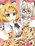 2girls :d animal_ears armpits cat_ears commentary_request elbow_gloves fur_collar glasses gloves gudon_(iukhzl) holding jaguar_(kemono_friends) jaguar_ears jaguar_print kemono_friends light_brown_hair looking_at_viewer margay_(kemono_friends) margay_print microphone multiple_girls open_mouth short_hair silver_hair smile yellow_eyes