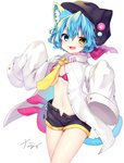 1girl :d animal_ear_fluff animal_ears animal_hat bikini bikini_under_clothes black_headwear black_shorts blue_eyes blue_hair bow breasts cabbie_hat cat_ears cat_girl cat_hat cat_tail collared_shirt commentary_request dress_shirt fake_animal_ears fang hat hat_bow heterochromia highres long_sleeves nachiru navel necktie open_clothes open_fly open_mouth open_shorts original oversized_clothes oversized_shirt pink_bikini pink_bow shirt short_hair short_shorts shorts signature simple_background sleeves_past_fingers sleeves_past_wrists small_breasts smile solo swimsuit tail white_background white_shirt yellow_eyes yellow_neckwear