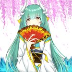 1girl bangs blue_kimono blush brown_eyes commentary dragon_horns eyebrows_visible_through_hair fan fate/grand_order fate_(series) flower folding_fan green_hair hair_between_eyes hand_up holding holding_fan horns japanese_clothes kimono kiyohime_(fate/grand_order) long_hair long_sleeves obi pink_flower rocm_(nkkf3785) sash solo twitter_username upper_body very_long_hair water waves white_background wide_sleeves wisteria