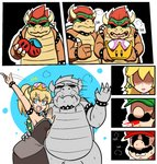 2girls 3boys 4koma :d aqua_eyes arm_around_waist black_collar black_dress blonde_hair blue_earrings borrowed_design bowser bowsette bracelet breasts breath brown_hair cherry clenched_teeth clone closed_mouth collar comic commentary couple crown dabloons double_cherry dress dual_persona earrings english english_commentary facial_hair fang fangs fangs_out flat_color food forked_eyebrows fruit gameplay_mechanics genderswap genderswap_(mtf) green_hat hand_on_another's_hip hand_on_another's_shoulder hat heavy_breathing hetero high_ponytail highres holding holding_crown holding_fruit horns jewelry long_hair luigi mario mario_(series) multiple_boys multiple_girls mustache new_super_mario_bros._u_deluxe open_mouth outstretched_arm personification princess_peach red_hat red_shirt selfcest shaded_face sharp_teeth shirt silent_comic smile spiked_armlet spiked_bracelet spiked_collar spiked_shell spikes spitting spitting_blood strapless strapless_dress super_crown super_mario_3d_world super_mario_bros. super_mario_odyssey sweat sweating_profusely teeth thick_eyebrows thumbs_up transformation turn_pale v-shaped_eyebrows waving