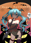 1girl absurdres aqua_hair bat black_gloves blush bridal_gauntlets candy corset covered_navel demon_girl demon_tail elbow_gloves finger_to_mouth gloves green_eyes halloween happy_halloween hatsune_miku head_wings highres leotard lollipop long_hair one_eye_closed silk single_thighhigh solo spider_web swirl_lollipop tail thighhighs twintails very_long_hair vocaloid wings