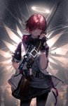 1girl absurdres arknights belt black_legwear copyright_name exusiai_(arknights) fingerless_gloves gloves gun hair_over_one_eye halo highres holding holding_gun holding_weapon hood hooded_jacket jacket looking_at_viewer red_eyes red_hair rifle scope short_hair sleeves_rolled_up smile sniper_rifle solo tagme ukai_saki weapon