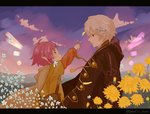 1boy 1girl antenna_hair bag child cloak closed_mouth dandelion eye_contact fa field fire_emblem fire_emblem:_fuuin_no_tsurugi fire_emblem:_kakusei fire_emblem_heroes flower flower_field from_side green_eyes hair_flower hair_ornament holding holding_flower letterboxed light_brown_hair long_sleeves looking_at_another male_my_unit_(fire_emblem:_kakusei) my_unit_(fire_emblem:_kakusei) outdoors outstretched_arm pink_hair pointy_ears profile red_eyes satchel short_over_long_sleeves short_sleeves sitting sky sunset tassel twitter_username upper_body white_hair