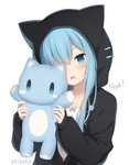 1girl amashiro_natsuki animal_ears animal_hood black_jacket blue_bow blue_eyes blue_hair blush bow camisole cat_ears cat_hood collarbone commentary_request drawstring fake_animal_ears fang hair_over_one_eye hands_up head_tilt highres holding holding_stuffed_animal hood hood_up hooded_jacket jacket long_hair long_sleeves looking_at_viewer open_mouth original puffy_long_sleeves puffy_sleeves romaji_text simple_background sleeves_past_wrists solo stuffed_animal stuffed_cat stuffed_toy upper_body white_background white_camisole
