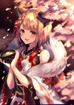 1girl :3 :d animal_ears bare_shoulders blurry braid brown_eyes brown_hair chromatic_aberration commentary_request cup detached_sleeves dog_ears drink erune feather_boa granblue_fantasy hair_ornament hands_up heart highres holding holding_cup homaderi japanese_clothes kimono lace_trim long_sleeves looking_at_viewer obi open_mouth petals sash short_hair smile solo upper_body vajra_(granblue_fantasy) white_kimono wide_sleeves