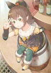 1girl animal_ears arm_warmers barrel bloomers blush boots bottle brown_hair commentary_request fake_animal_ears from_above fur_trim green_eyes green_legwear grin hair_bobbles hair_ornament highres hood koppa_mijinko_(series2023) legwear_under_shorts looking_at_viewer milsee monster_hunter pantyhose petite pointy_ears ponytail short_hair short_sleeves shorts sitting smile solo table tablecloth underwear waving