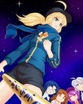 5girls ahoge artoria_pendragon_(all) black_hair black_shorts blonde_hair blue_hair brown_eyes ciel closed_eyes eating fate_(series) green_eyes holding holding_sword holding_weapon inu_muchi long_hair melty_blood multiple_girls mysterious_heroine_x purple_hair riesbyfe_stridberg rojiura_satsuki:_chapter_heroine_sanctuary short_hair shorts silver_hair sion_eltnam_atlasia sky star_(sky) starry_sky sword tsukihime weapon yumizuka_satsuki