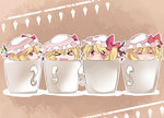 4girls :3 :d >_< blonde_hair blush chibi clone closed_eyes cup flandre_scarlet four_of_a_kind_(touhou) hammer_(sunset_beach) hat in_container in_cup looking_at_viewer mug multiple_girls multiple_persona open_mouth parody red_eyes short_hair side_glance side_ponytail smile solo touhou wagamama_fairy_mirumo_de_pon! wings xd