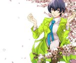 1girl alternate_costume arms_up blue_eyes blue_hair coat earrings flower jewelry kknoe looking_at_viewer necktie persona persona_4 petals reverse_trap shirogane_naoto short_hair solo tree white_background