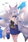 absurdres animal_ear_fluff animal_ears azur_lane bangs blunt_bangs blush breasts commentary eyebrows_visible_through_hair fox_ears fox_girl fox_mask fox_tail greypidjun hakama_skirt highres holding holding_mask japanese_clothes kaga_(azur_lane) kimono kitsune mask mask_on_head multiple_tails tail white_hair white_kimono wide_sleeves