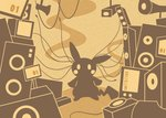 blush_stickers full_body gen_1_pokemon limited_palette looking_at_viewer monochrome no_humans parody pikachu pokachuu pokemon pokemon_(creature) screen sepia shinkai_summit_(vocaloid) silhouette speaker standing wire