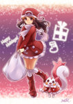 1girl alternate_color bag black_eyes black_hair capelet christmas coat hat hikari_(pokemon) kisaragi_itsuka_(aufheben) kneehighs pachirisu pokemon pokemon_(game) pokemon_dppt red_boots scarf shiny_pokemon smile solo white_legwear