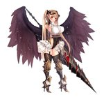 1girl angel_wings armored_boots armpits bangle bangs black_gloves black_legwear black_leotard black_wings blouse blush boots bracelet breasts collared_blouse commentary_request covered_navel cowboy_shot demon_horns elbow_gloves eyebrows_visible_through_hair fallen_angel feathers full_body garter_belt garter_straps gloves gold gold_trim groin hand_up high_heel_boots high_heels highleg highleg_leotard highres holding holding_weapon horns jewelry lance large_breasts leotard long_hair looking_at_viewer neck_ribbon original parted_lips polearm red_eyes red_ribbon ribbon short_sleeves sidelocks simple_background skindentation smile solo thighhighs thighs twintails underbust untsue very_long_hair weapon white_background white_blouse wings